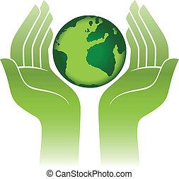 Planet Erde in Händen