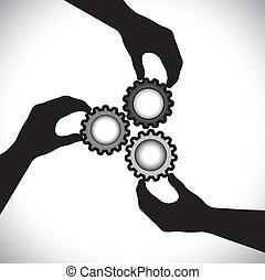 Planvektorgrafik der Teamarbeit, Gemeinschaftseinheit & Integrität. Die Illustration zeigt, dass drei Handsilhouette mit drei Cog-Fälschrädern zusammenhängen und sie synchron und ausgewogen drehen