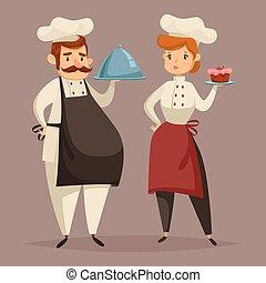 platte, frauenhände, küchenchef, koch, uniform