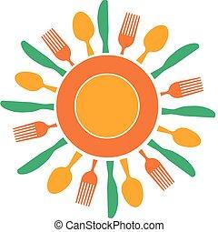 platte, gabel, sonne, organisiert, gelber , messer, mögen