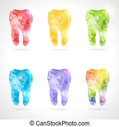Polygonaler Vektorsatz der Zähne.