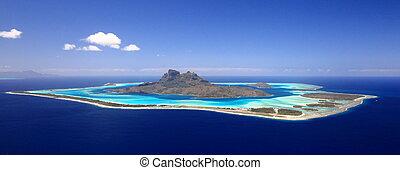 polynesien, day., oben, ansicht, voll, flitterwochen, lagune, wolkenlos, bestimmungsort, bora, blütezeit, franzoesisch