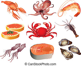 Popular Seafood Vektor eingestellt