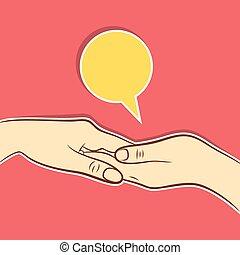 portion, begriff, design, hand