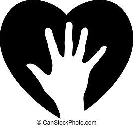 portion, herz, hand