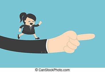 portion, riesig, geschäftsfrau, sehen, hand, zeigt