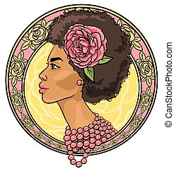 Portrait einer schönen Frau in Blumengrenze.