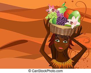Portrait eines Eingeborenen mit einem Obstkorb