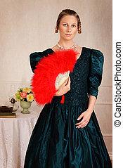 Portrait Viktorianische Frau mit Fan.