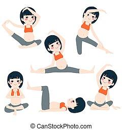 posen, schwanger, asiatische frau, joga