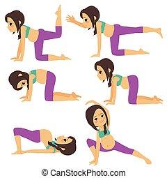 posen, schwanger, indische frau, joga
