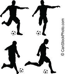 Poses der Fußballspieler Silhouetten in Lauf-und Streik Position.