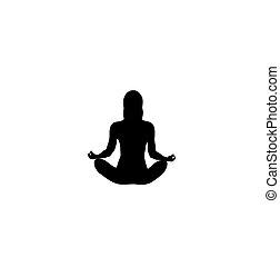 position, vektor, silhouette, lotos, form, yoga., woman.