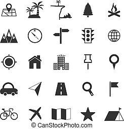 Positionssymbole auf weißem Hintergrund.