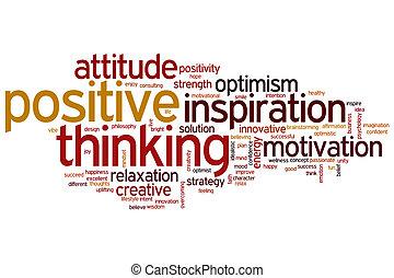 Positiv denkende Wortwolke.