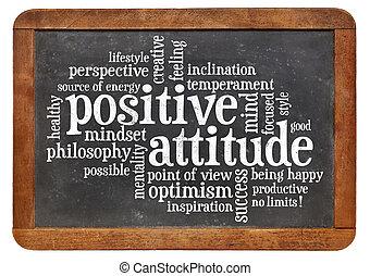 Positives Einstellungskonzept an der Tafel.