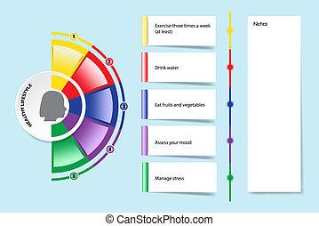 Präsentation zeigt die fünf Schritte für ein gesundes lebendes Vektorkonzept