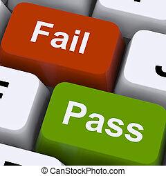 prüfung, weisen, schlüssel, versagen, ergebnis, passierschein, pr�fung, oder