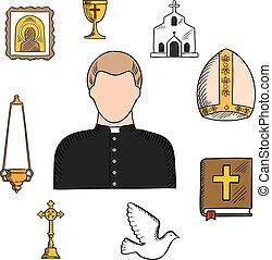 Priesterberuf mit religiösen Symbolen.