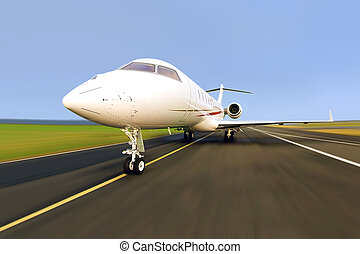 Privatjetflugzeug mit Bewegungsmix