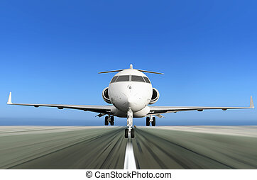 Privatjetjet fliegt mit Bewegungsmix