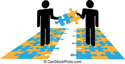 problem, zusammenarbeit, leute, puzzel, loesung