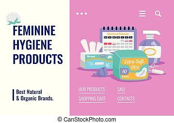 produkte, hygiene, banner, weiblich