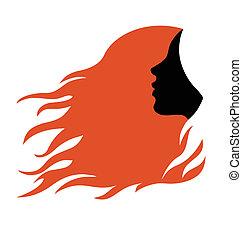 Profil der Frau mit roten Haaren.