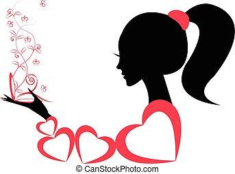 Profil eines Mädchens oder einer Frau. Vector