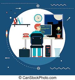 Programmierungs- und Webentwicklungskonzept-Symbolprogrammierer arbeiten im Arbeitstisch-Home-Symbol auf stilvollem Hintergrund, modernem Flachbild-Template-Vektorbild.