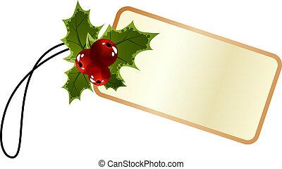 promo, stechpalme, etikett, weihnachten, leer
