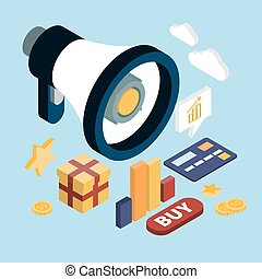 Promotion Online Marketing Wohnung 3d Web isometric