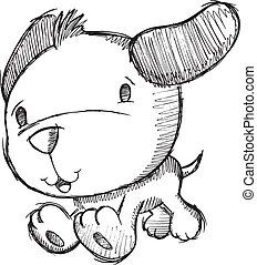 Puppy Dog Sketch Doodle Zeichnung.