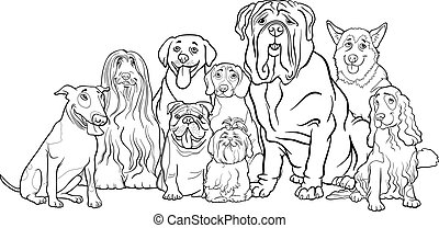 purebred, färbung, gruppe, karikatur, hunden