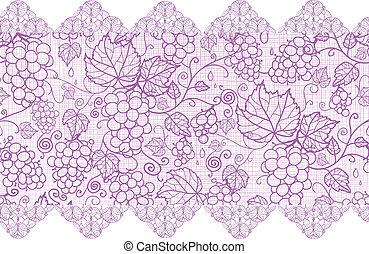 Purple-Lace-Trauben-Vanen horizontal nahtloser Hintergrund-Grenze