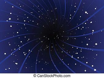 Purpur-Ausbruch und Sterne.