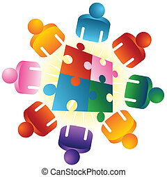 puzzel, lösen, roundtable, mannschaft