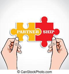 puzzel, partnerschaft, stück, hand