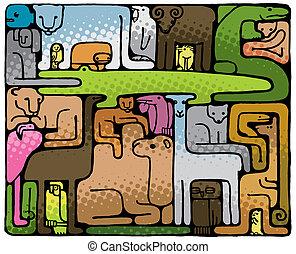 puzzel, tier, (vector)