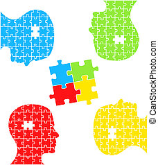 Puzzle-Konzept-Kopfvektor
