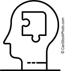 Puzzle-Mensch-Ikone, umrissenen Stil