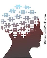 Puzzleteile als Kopf eines Mannes