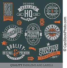 Qualität und garantierte Etiketten