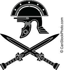 Römerhelm und Schwerter