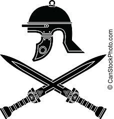 Römerhelm und Schwerter. Vierter Var