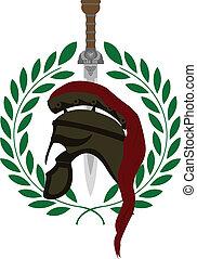 römischer Helm und Schwert