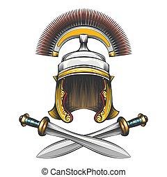Römischer Kaiserhelm mit Schwertern