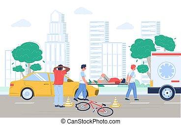 radfahrer, vektor, zusammenstoß, abbildung, fahrrad, auto, dringlichkeits obacht, wohnung, unglück