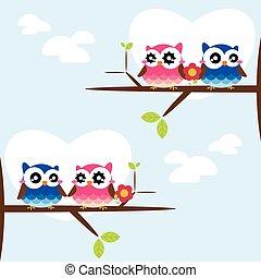 rahmen, reizend, blumen, owls.