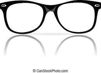 rahmen, schwarz, brille